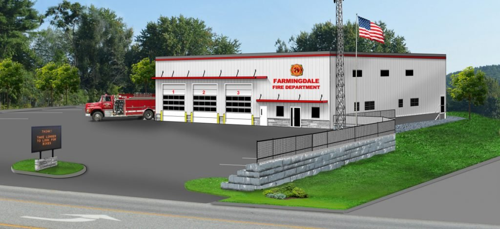 A rendering of proposed new Farmingdale Fire Station.