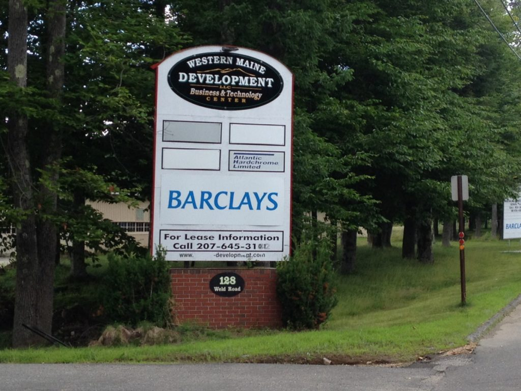 The Barclaycard call center sign is seen in Wilton in 2014. The call center plans to close by the end of March, laying off more than 200 people.