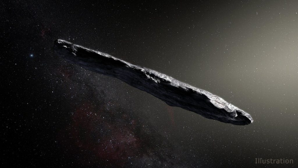 An artist's concept of interstellar object Oumuamua as it passed through the solar system after its discovery in October 2017.