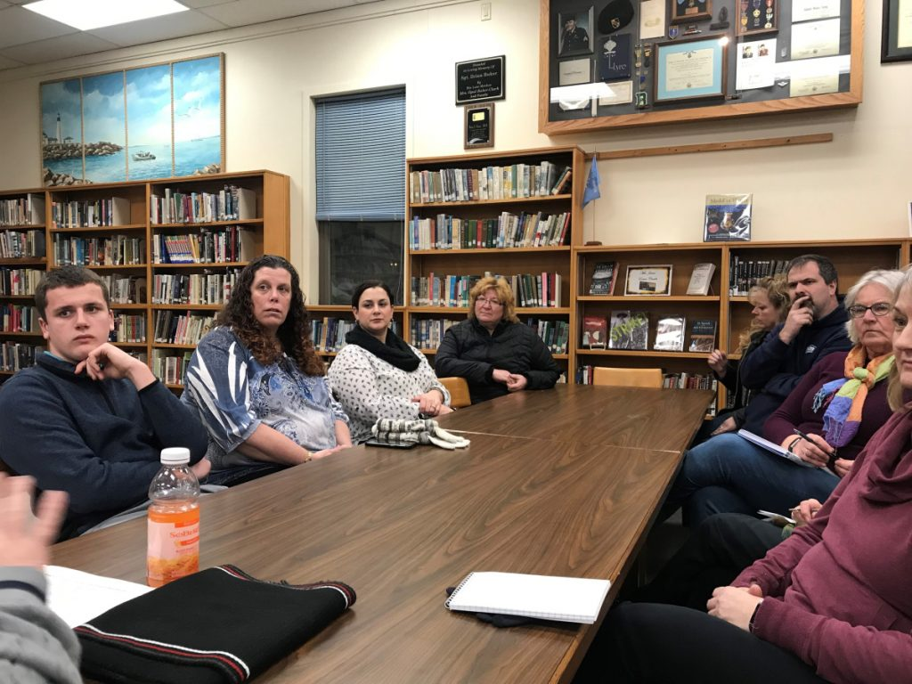 School Administrative District 49 Superintendent Reza Namin answers questions from residents Friday evening and talks about his plans for restructuring the administration during a meeting at Lawrence High School in Fairfield.