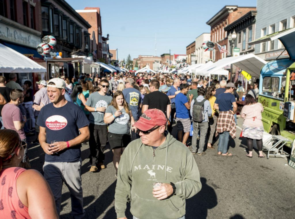 Water Street in Skowhegan was jammed with people for the second annual Skowhegan Craft Brew Festival on Sept. 2, 2017. A plan to make Somerset County a destination economy counts craft brewing among the assets of the region that also includes farm-to-table restaurants, museums, rural art studios and live music venues.