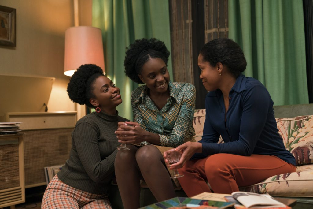 "Teyonah Parris as Ernestine, left, with KiKi Layne as Tish, and Regina King as Sharon star in Barry Jenkins' ""If Beale Street Could Talk,"" an Annapurna Pictures release."