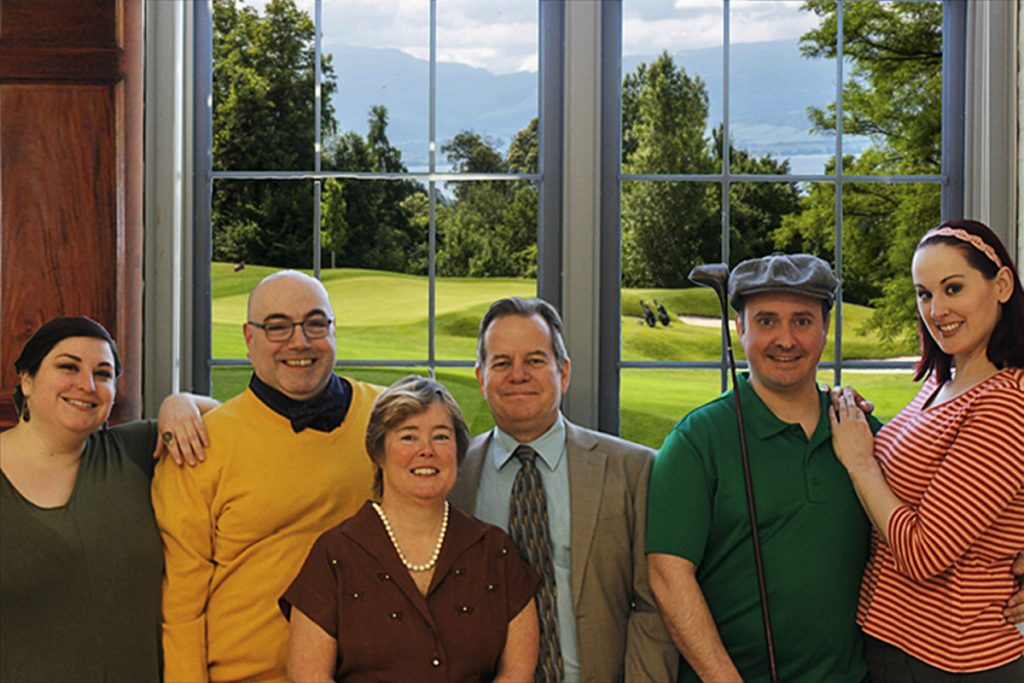 "The cast of ""A Fox On The Fairway,"" from left: Emilienne Ouellette, Erik Hyatt, Jeralyn Shattuck, Bart Shattuck, Tim Croce and Bee Tyler. Photo courtesy of the Waterville Opera House"