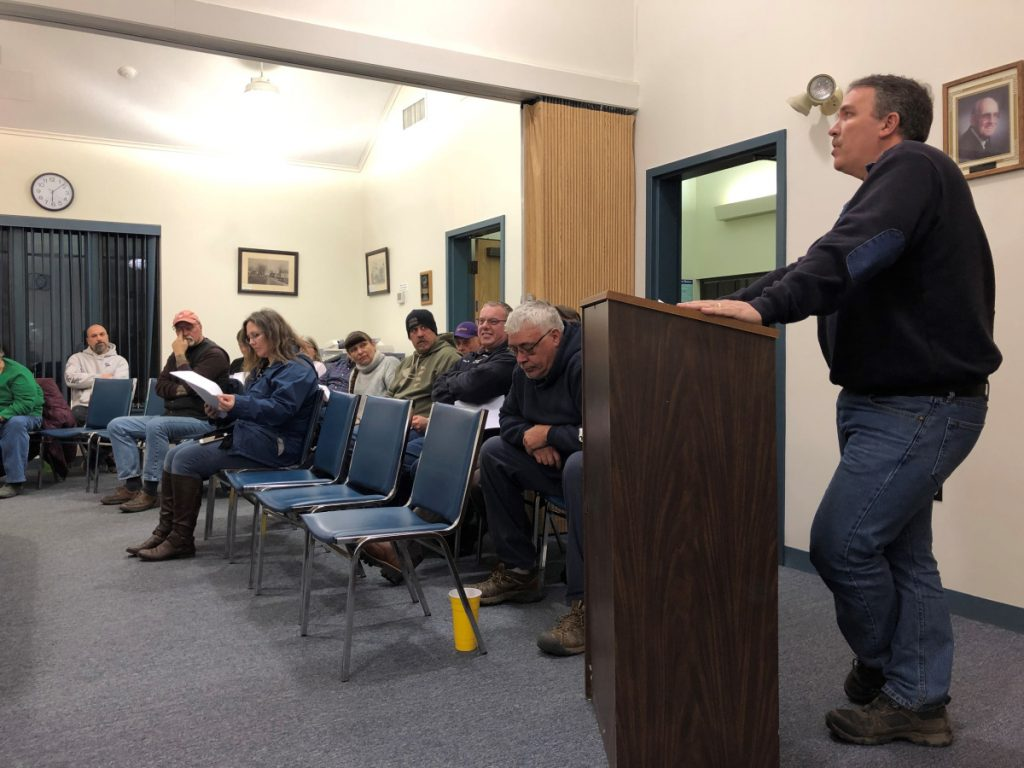 Monmouth Fire Chief Dan Roy addresses the Board of Selectmen on Wednesday about hosting an ice skating party at the town beach on Feb. 17. Roy jokingly asked the town if he could buy a Zamboni for the event.