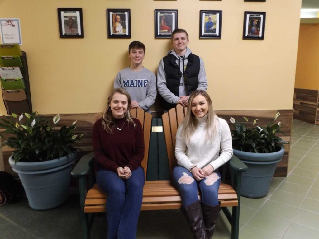 Carrabec High School students, seated, from left, are Kelsey Creamer and Melanie Clark. In back, from left, are Jacob Atwood and Evan Holzworth.