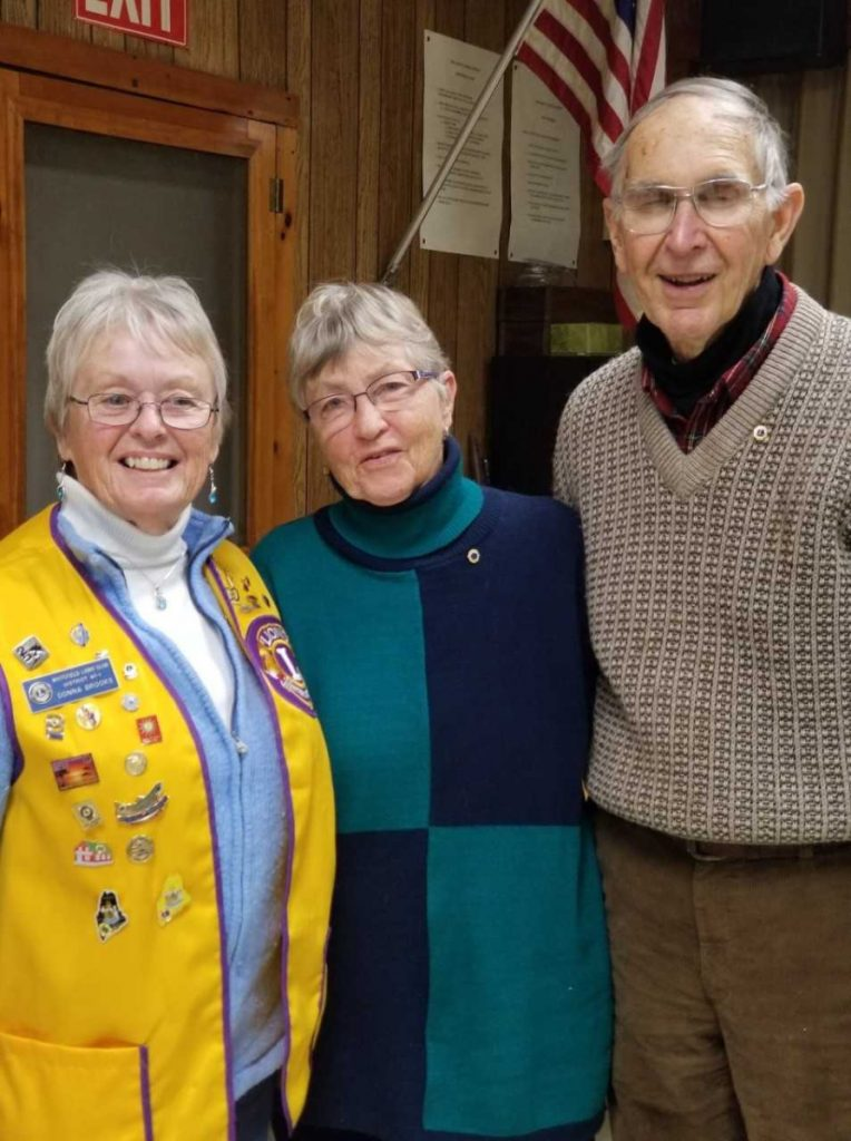 Whitefield Lions Club inducted two new members Jan. 10 during its regular meeting Jan. 10 at the clubhouse in Coopers Mills. From left are 1st Vice President Lion Donna Brooks, Julie Rand and David Rand.