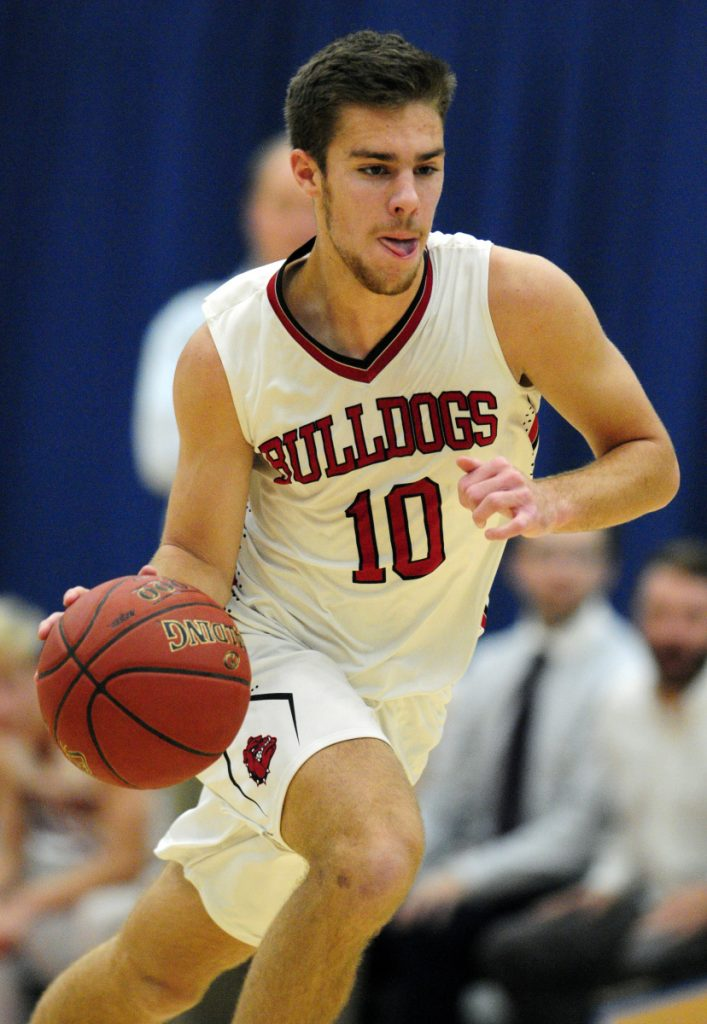 Hall-Dale's Alec Byron scored his 1,000th career point in a win over Boothbay on Monday.