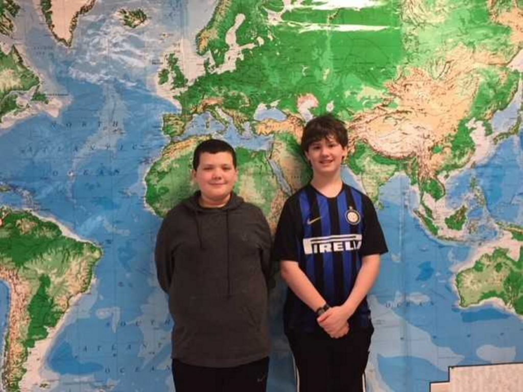 Waterville Junior High Schook Geography Bee champion Owen Libby, left, and runner-up Pete Butera.