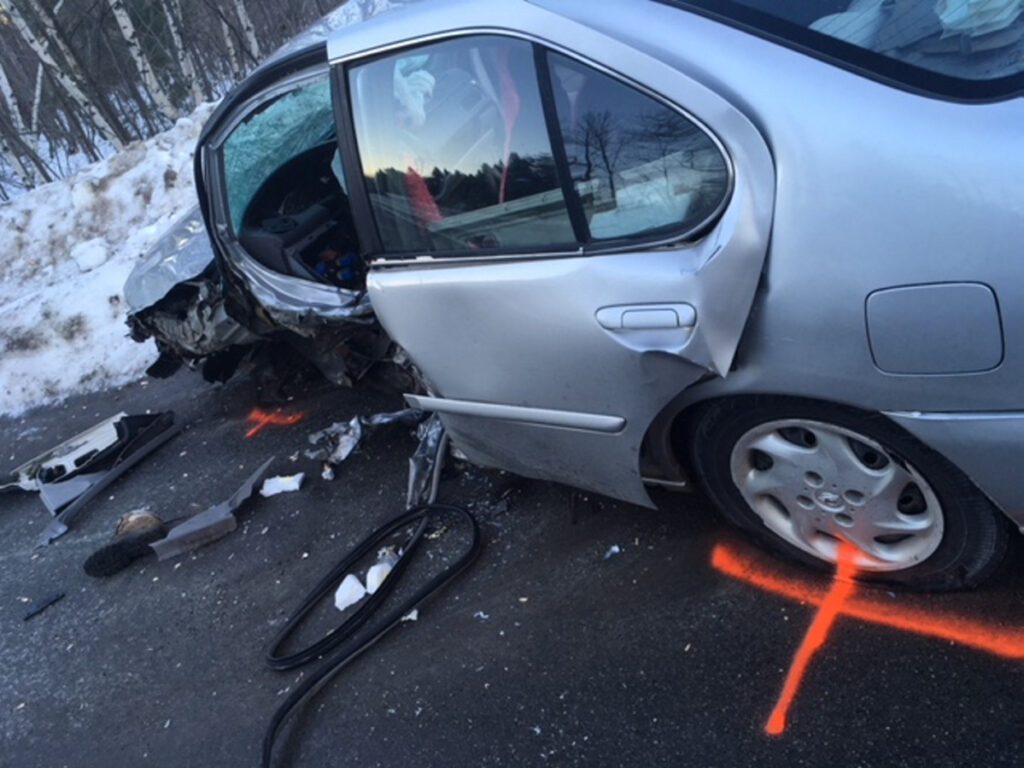 A Farmington woman suffered severe injuries in a head-on crash in Mercer Friday morning. A 2001 Nissan Altima was traveling east in the westbound lane when it collided with a 2013 Volkswagen Beetle that was traveling west toward New Sharon.