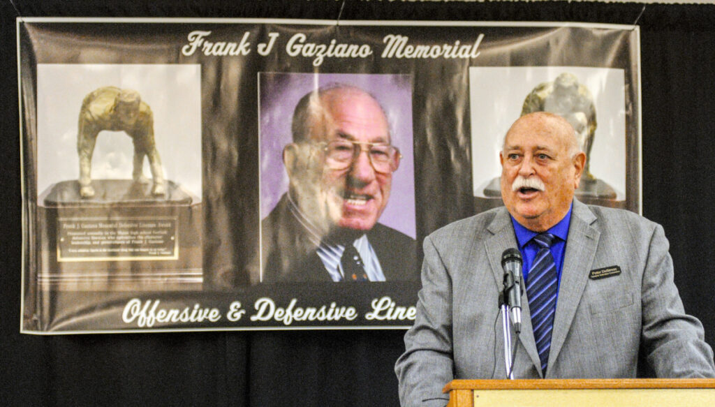Peter DeSimon speaks during the Frank Gaziano Award ceremony Saturday at the Augusta Civic Center.