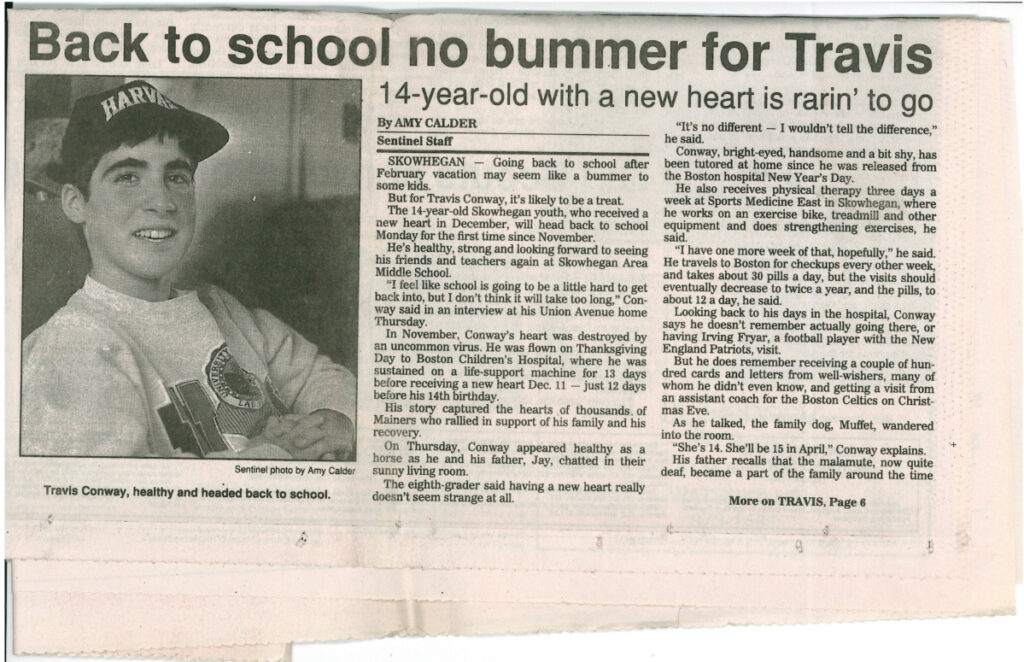 Travis Conway as he appeared on Feb. 20 and 21, 1993, on the front page of the Morning Sentinel.