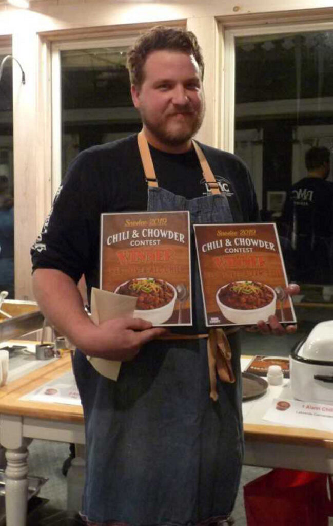 Kirk Wright, representing Bald Mountain Camps, won of Best Overall Chili contest hosted by the Rangeley Lakes Chamber of Commerce.