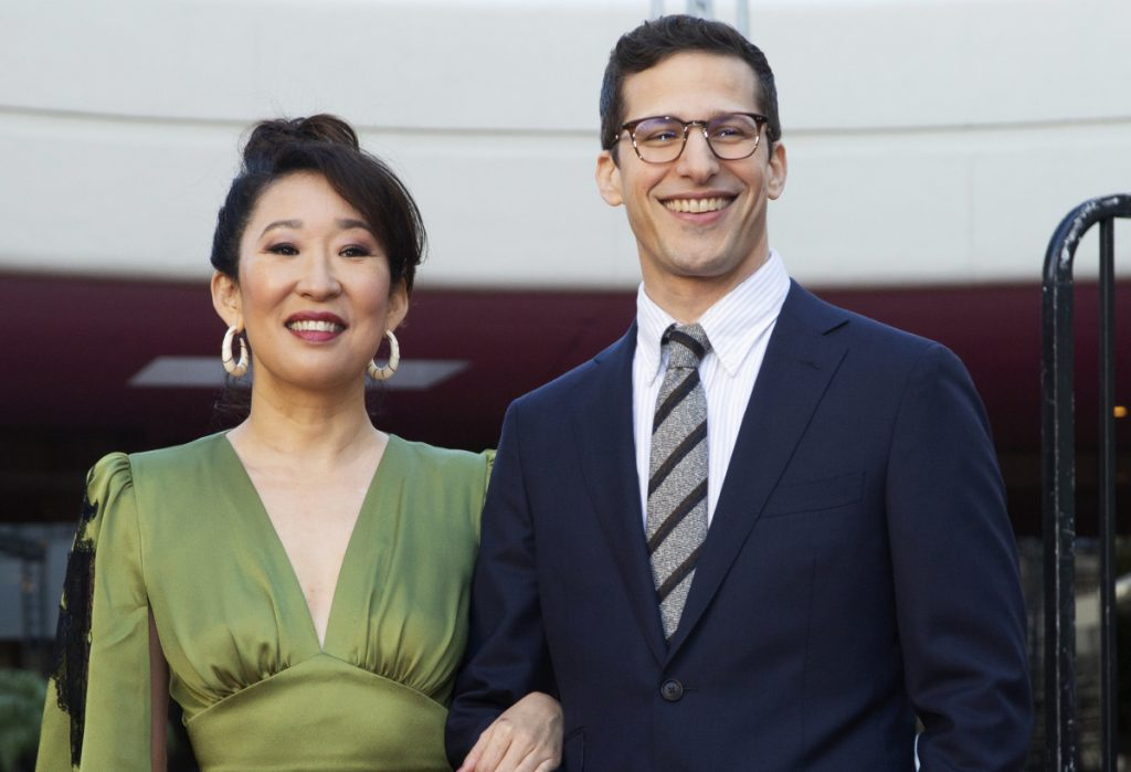 Sandra Oh and Andy Samberg will co-host the 76th annual Golden Globes Awards in Beverly Hills, Calif., on Sunday beginning at 8 p.m.