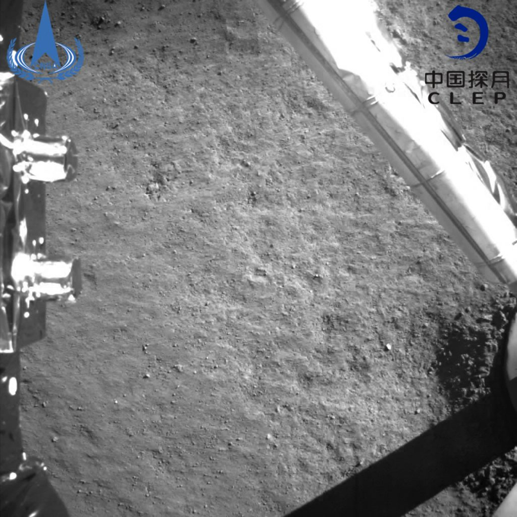In this photo provided on Jan. 3, 2019, by the China National Space Administration via Xinhua News Agency, an image taken by China's Chang'e-4 probe after its landing.  A Chinese spacecraft on Thursday, Jan. 3, made the first-ever landing on the far side of the moon, state media said. The lunar explorer Chang'e 4 touched down at 10:26 a.m., China Central Television said in a brief announcement at the top of its noon news broadcast.