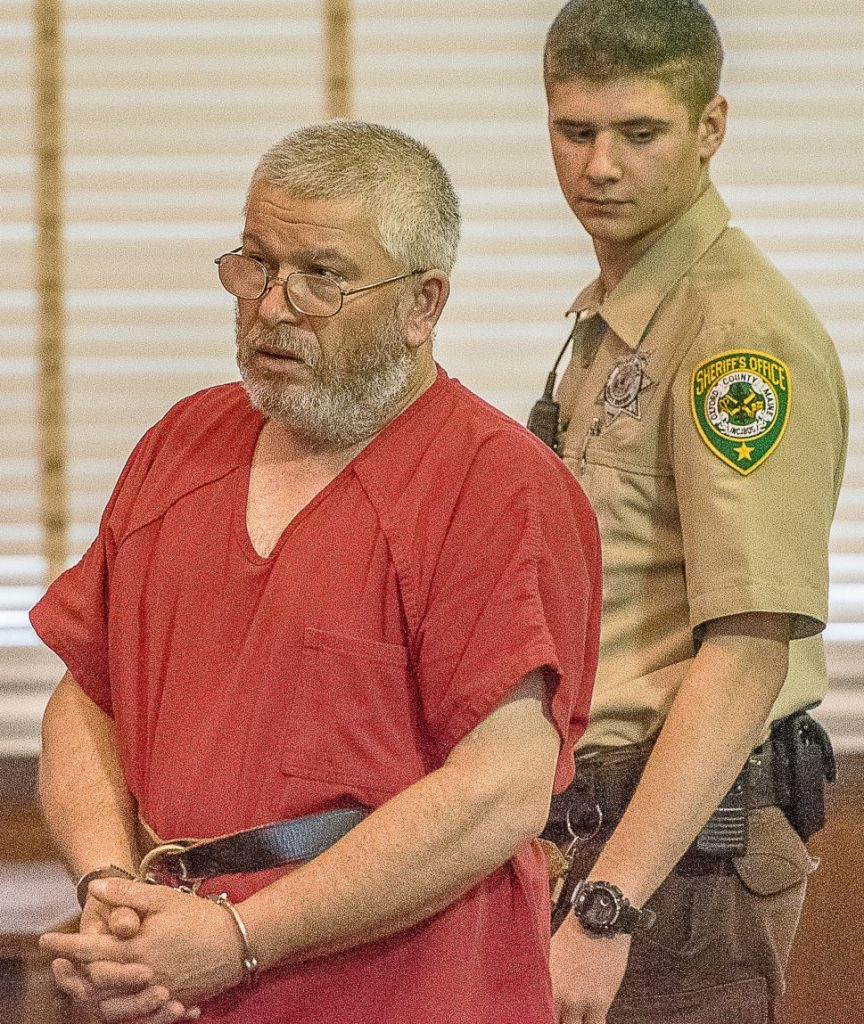 Mark Penley, 49, of Peru appears in Oxford County Superior Court on Friday on two counts of murder.
