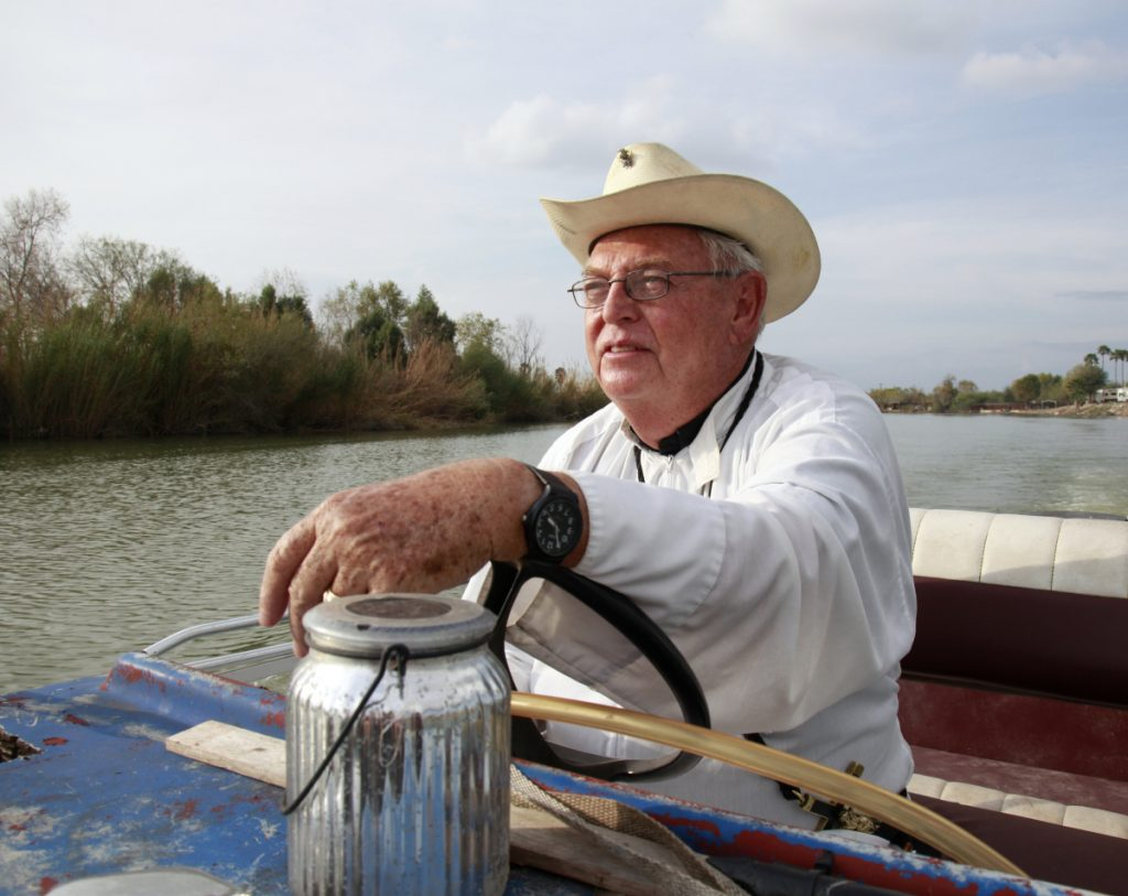 Roy Snipes, pastor of the La Lomita Chapel, shows Associated Press journalists the land on either side of the Rio Grande in Mission, Texas, on Tuesday. Portions of Snipes' church land could be seized by the federal government to construct additional border wall and fence lines. Rather than surrender their land to the government, some property owners are digging in to fight President Trump's border wall, rejecting buyout offers and preparing to battle the administration in court.