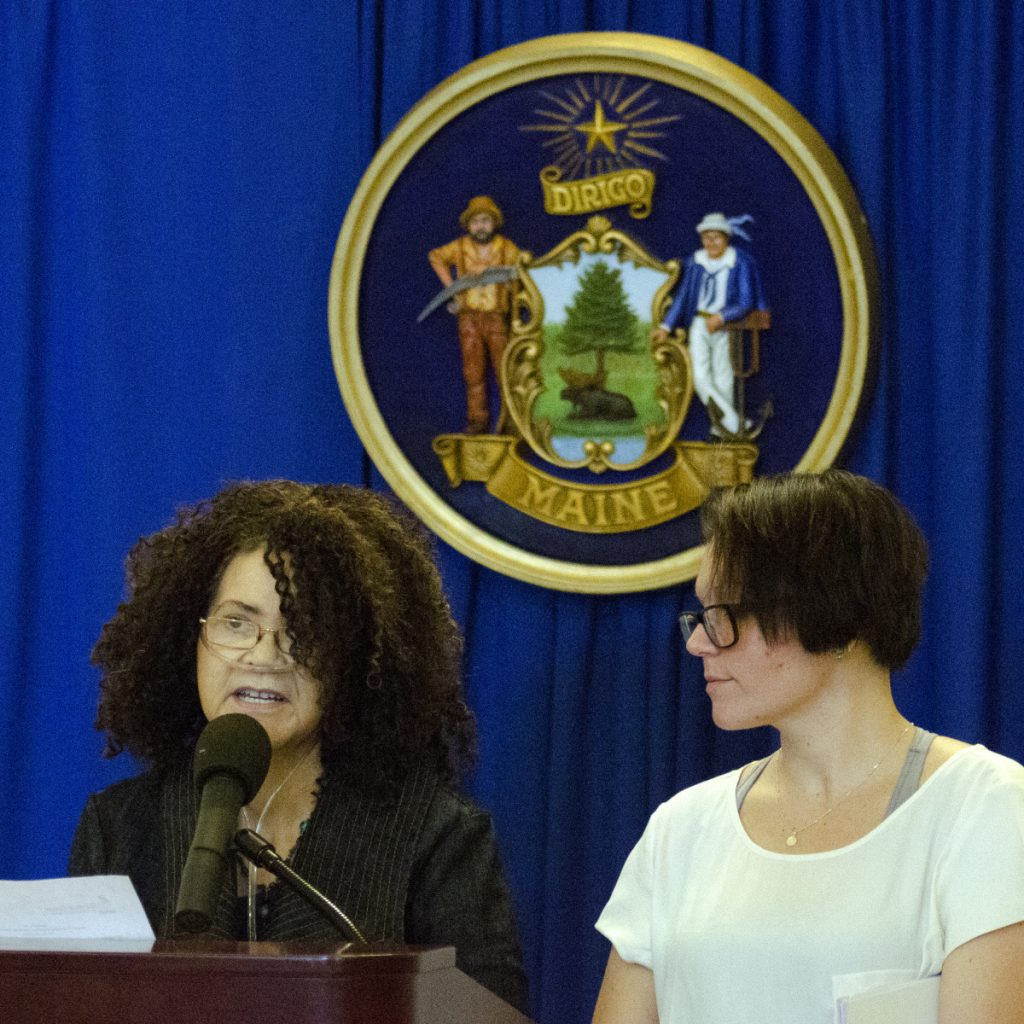 Dee Clark, left, and Dezara Niski of the Maine chapter of Survivors Speak were among those who discussed human trafficking at Thursday's news conference at the State House.