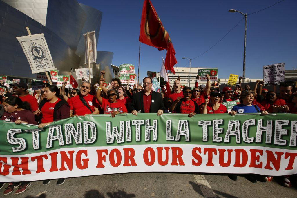 Thousands of teachers rally against the nation's second-largest school district in downtown Los Angeles. A massive teachers strike in Los Angeles is all but inevitable starting Monday, Jan. 14, 2019, after the two sides did not renew negotiations over the weekend.