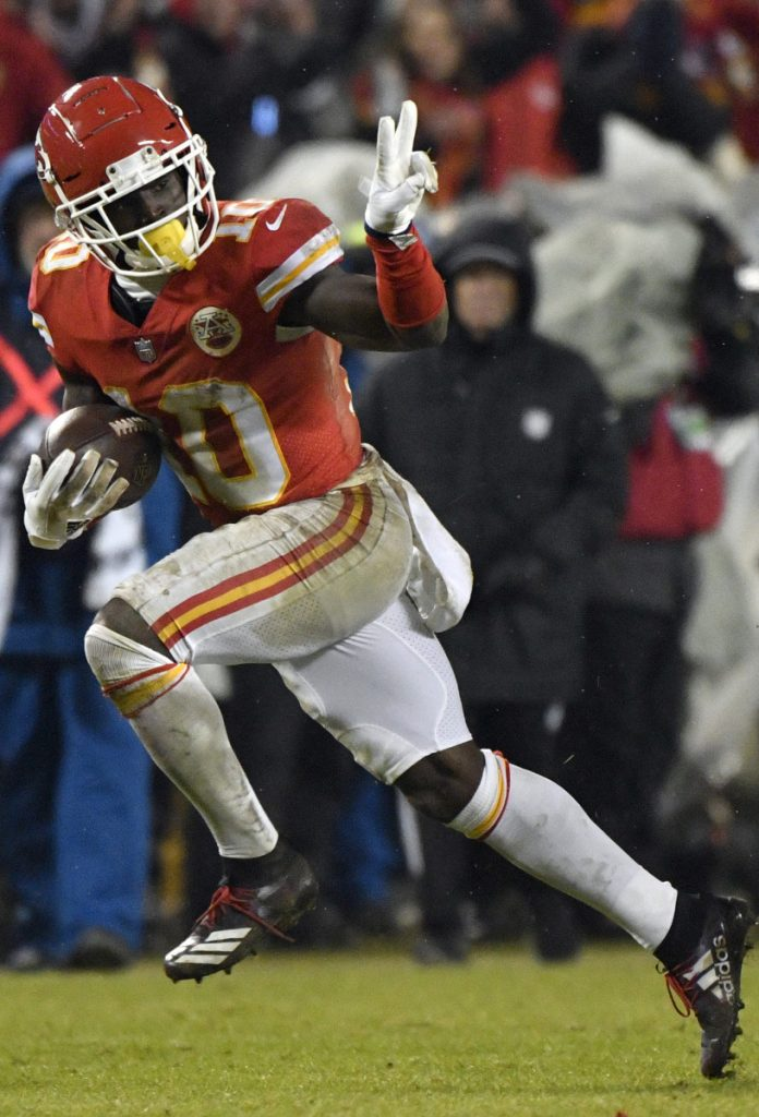 Kansas City receiver Tyreek Hill has bid farewell to more than a few defenders this season, and that's a sight the Patriots must avoid in the AFC final Sunday.