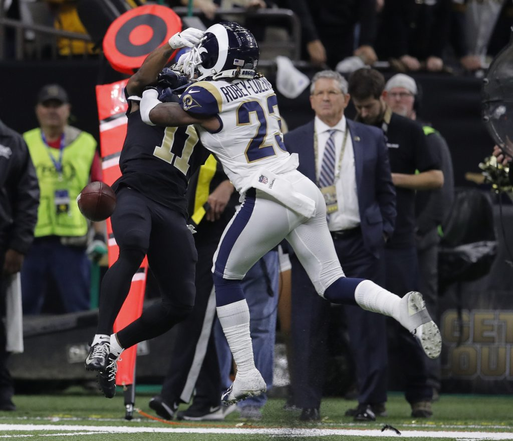 Los Angeles defensive back Nickell Robey-Coleman defends against New Orleans wide receiver Tommylee Lewis during the second half Sunday in New Orleans. The Rams won 26-23.