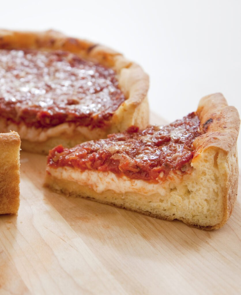 This recipe for Deep-Dish Pizza makes six to eight servings.