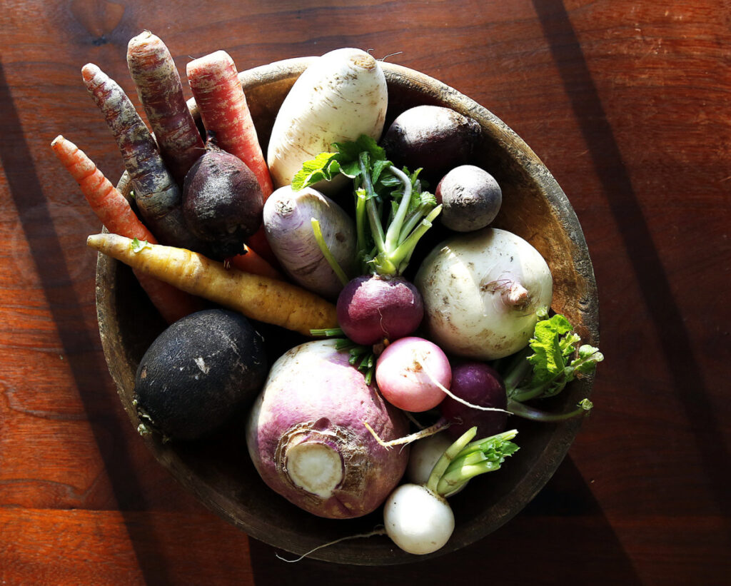 A bowl of root vegetables, the ispiration for a winter salad.