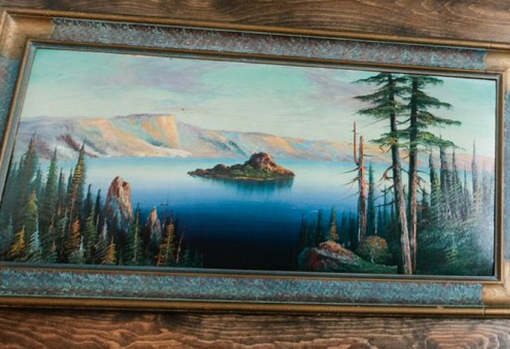 This painting of Crater Lake in Oregon disappeared last weekend from the Portland Hunt & Alpine Club.