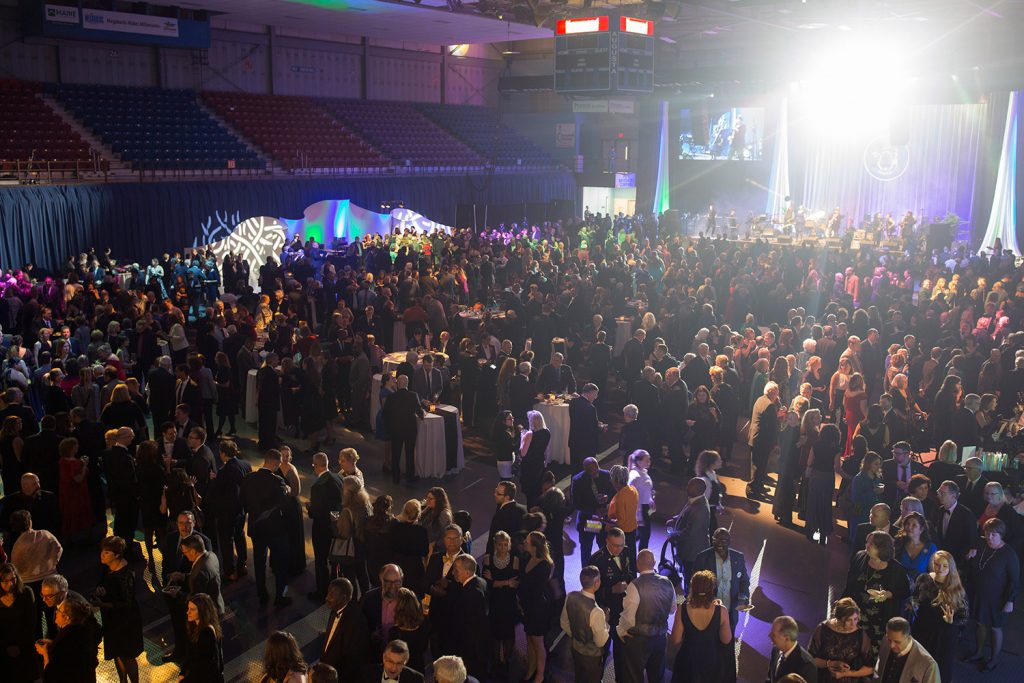 The crowd gathers at the Augusta Civic Center on Friday night for Gov. Janet Mills' inaugural celebration.