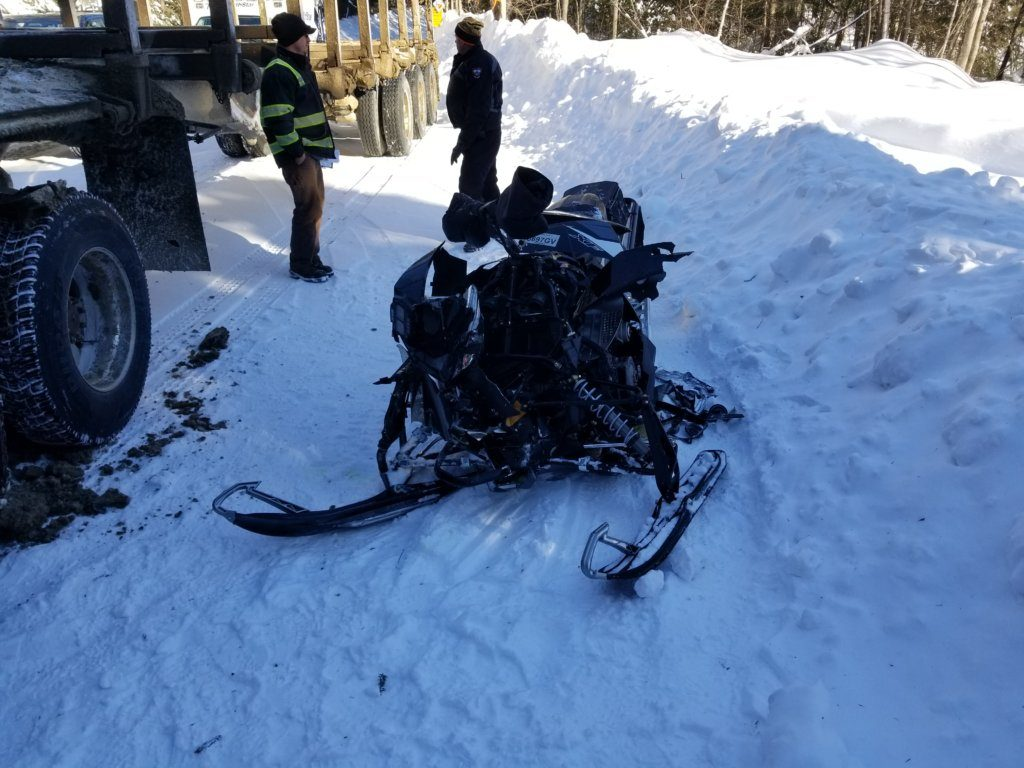 John Derea, 71, of Nazareth, Pa., was injured Tuesday when the 2014 Artic Cat snowmobile he was operating hit a rear tire of an empty logging truck that was driving by the trail on Tim Pond Road in Eustis.