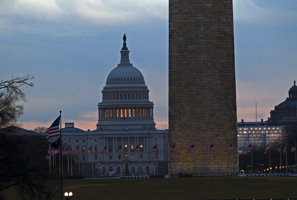 The U.S. Capitol is seen early in the morning in Washington, Tuesday, Jan. 1, 2019, as a partial government shutdown stretches into its third week. A high-stakes move to reopen the government will be the first big battle between Nancy Pelosi and President Donald Trump as Democrats come into control of the House.
