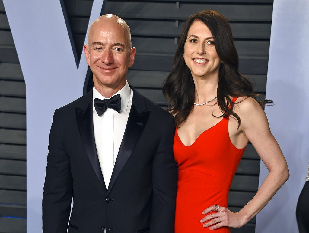 Jeff Bezos and wife MacKenzie Bezos arrive at the Vanity Fair Oscar Party in Beverly Hills, Calif. on March 4, 2018.