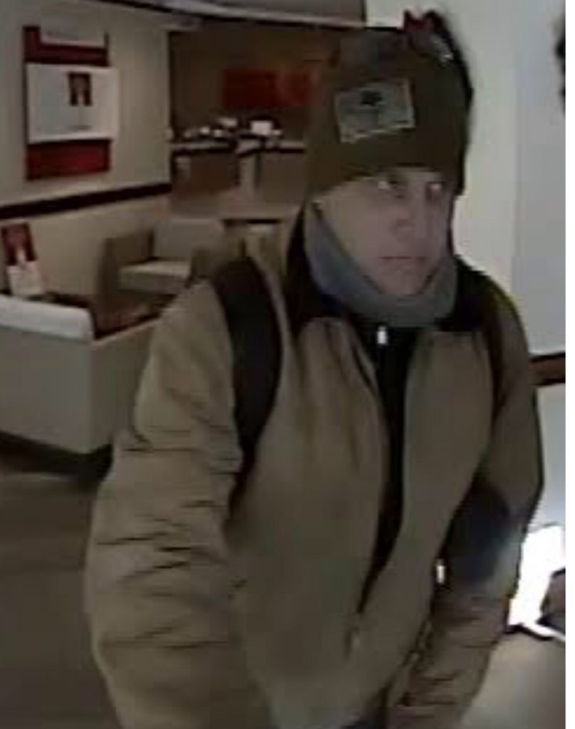 Police released a screen grab of a suspected bank robber who robbed the Bank of America at One City Center in Portland on Thursday, Jan. 3, 2019.