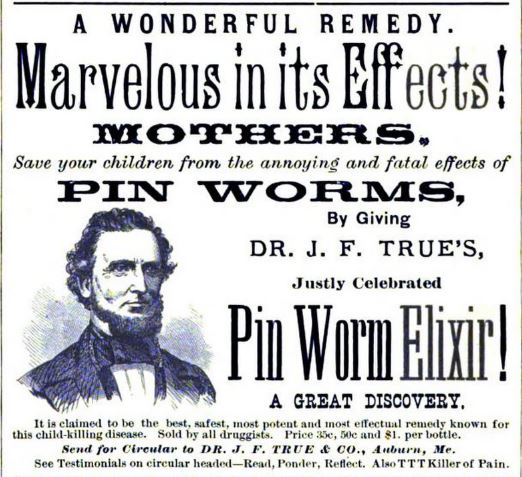 An 1880 advertisement for Dr. True's Elixir in a Lewiston-Auburn business directory.