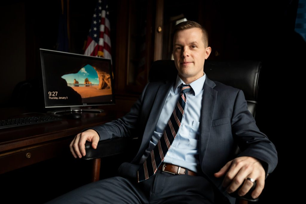 U.S. Rep. Jared Golden in his office in Washington on Thursday morning, before being sworn in as a member of the 116th Congress.