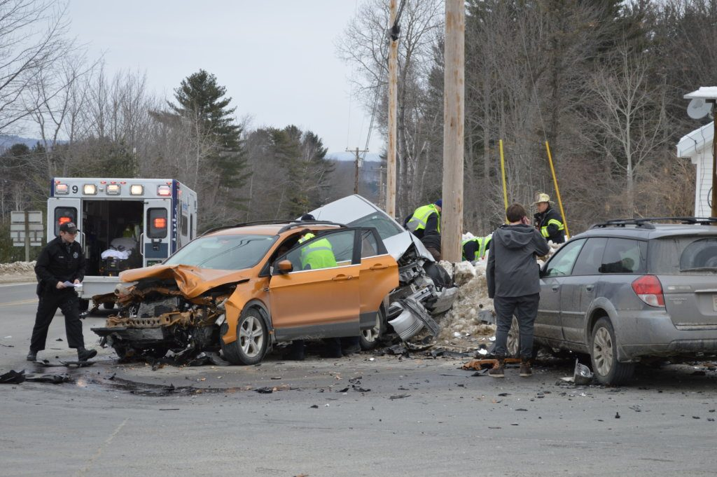 Two women were taken by ambulance to a hospital Friday morning when a car driven by Allison Callahan, 19, of Farmington collided with a SUV driven by Tammy Davis, 53, of Jay, and both vehicles collided with a car driven by Bentley Meyer, 20, of Concord, Massachusetts, at the intersection of routes 133 and 156 at Bean's Corner in Jay.