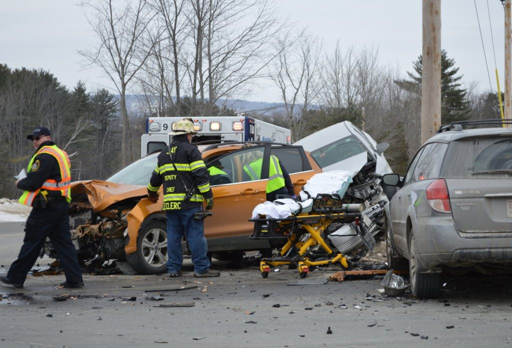 Two women were injured Friday morning when a car driven by Allison Callahan, 19, of Farmington collided with a SUV driven by Tammy Davis, 53, of Jay, and both vehicles collided with a car driven by Bentley Meyer, 20, of Concord, Massachusetts, at the intersection of routes 133 and 156 at Bean's Corner in Jay.
