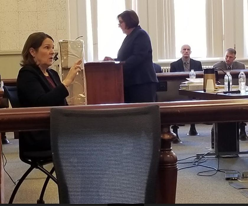 Maine Assistant Attorney General Leane Zainea, standing at podium, gives the state's closing argument in the murder trial of James Sweeney, formerly of Jay, on Monday at Franklin County Superior Court. American Sign Language interpreter, Jane Hecker-Cain, seated front, signs what she is saying to Sweeney who is not seen in the photo.
