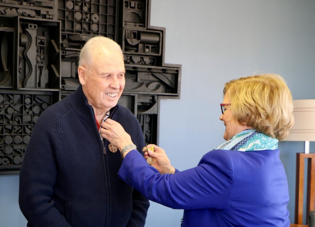 Richard LeBrun of Springvale served in Vietnam 55 years ago. On Tuesday, U.S. Rep. Chellie Pingree bestowed the two medals he'd earned for his service, during a ceremony in her Portland office.