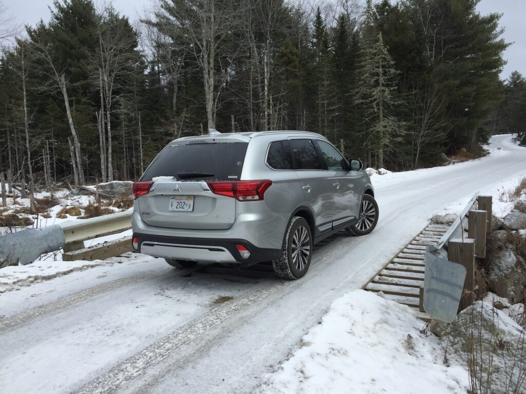 At 185 inches, the Outlander is slightly longer than most compact crossovers, with space for a third-row seat. Photo by Tim Plouff. Location: Green Lake Road, Ellsworth.