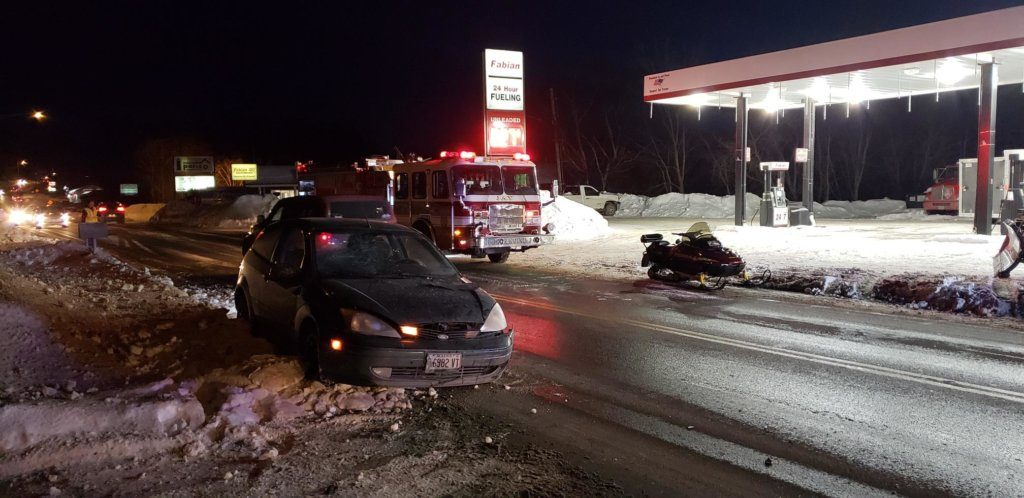 Mark Given, 33, of Jay was injured Tuesday evening when his Ski-Doo snowmobile collided on Route 4 with a 2004 Ford Focus driven by Juliann Desjardins, 21, also of Jay.