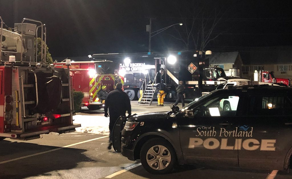 """Emergency officials set up a command center at the Best Western Merry Manor Inn on Route 1 in South Portland on Friday after trying to execute a """"high-risk"""" search warrant at a nearby apartment."""