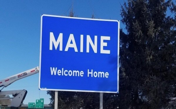 """The Maine Turnpike Authority has installed a new """"Welcome Home"""" sign near the state's border with New Hampshire."""