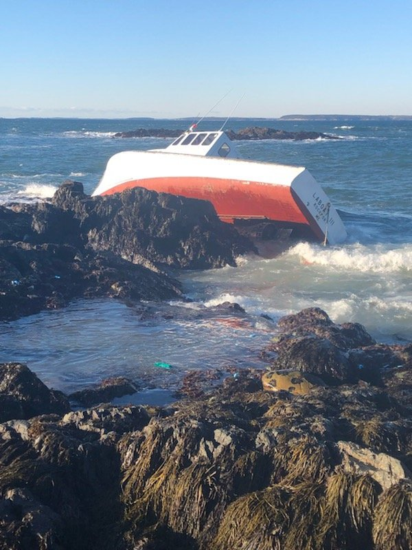 The La Boat III was found on the rocks along Stand In Point on North Haven.