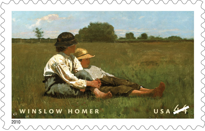 """This undated handout image provided by the US Postal Service shows the postage stamp honoring American painter Winslow Homer, featuring his 1874 oil-on-canvas painting """"Boys in a Pasture."""""""