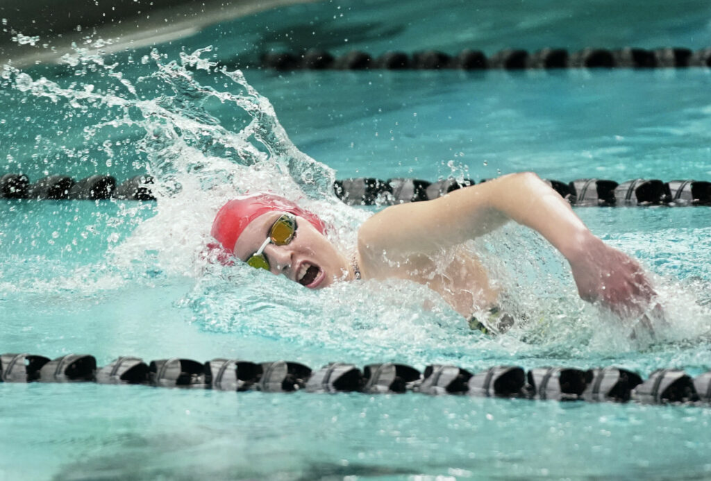 Cony standout swimmer Cecilia Guadalupi competes in the 100-yard freestyle at the Class A swimming and diving state championships last season in Brunswick. Guadalupi returns as one of the top swimmers in the state this winter.