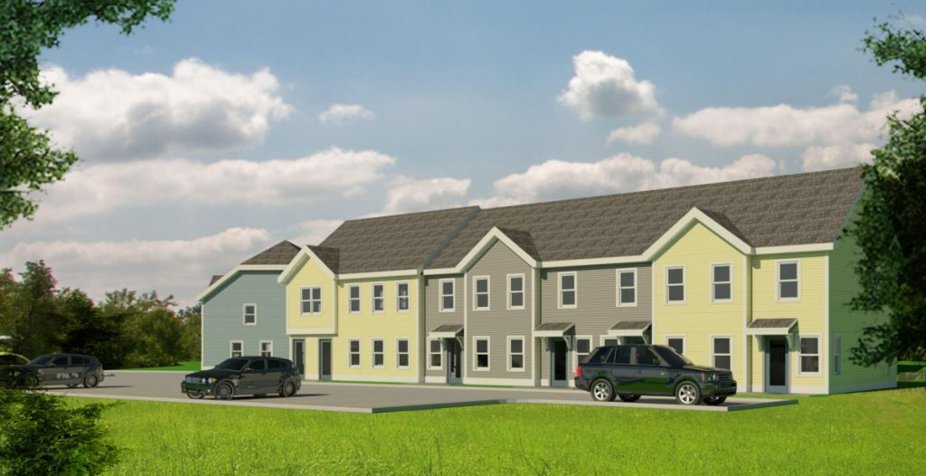 An artist's rendering shows a 29-unit apartment complex planned on a portion of the city-owned former Statler mill site in Augusta. Rendering courtesy of Augusta Housing
