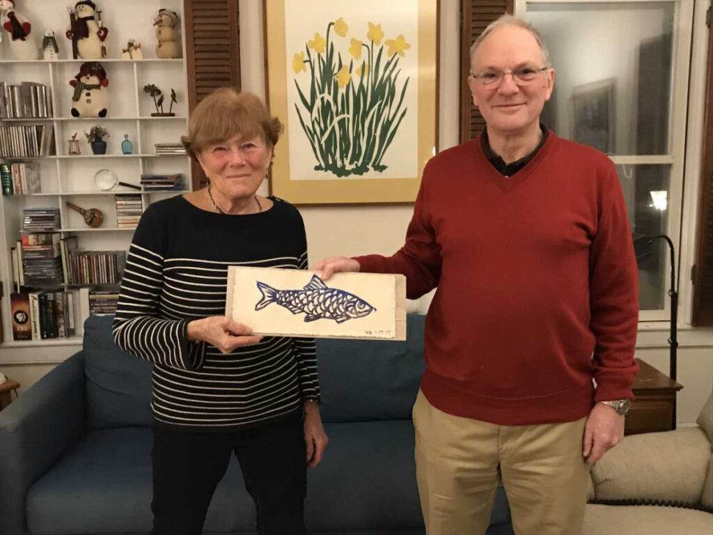 Deborah Wilson, left, who, after 11 years, turns management of the annual Damariscotta Mills Fish Ladder Festival on Jan. 13 over to David Brydges.