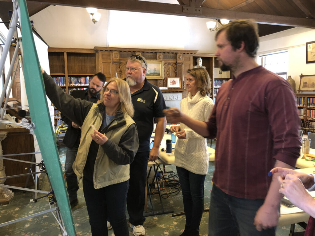 From left, Gardiner Councilors Shawn Dolley, Maryann White, Timothy Cusick, Amy Rees and Jon Ault indicate which city issues they would like to see considered priorities in 2019 as part of a goal-setting session Saturday at Gardiner Public Library. The completed list is expected to come before the City Council for ratification in March.