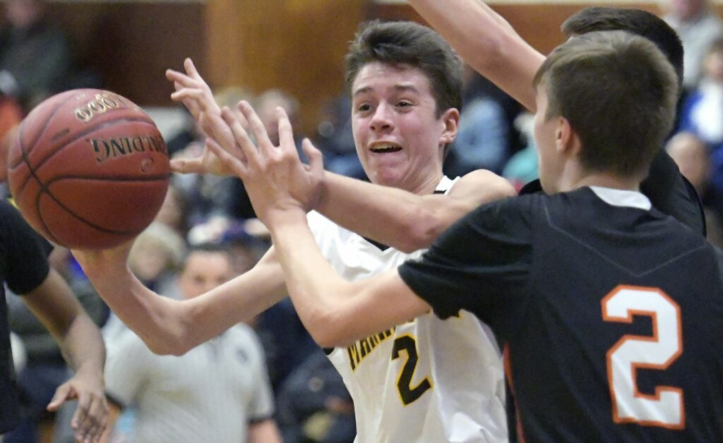 """Cash McClure, a senior on the Maranacook boys' basketball team says, """"It's kind of tough to hear that we're not going to have a normal season for my senior year, but hopefully we'll have something that we can play, and we're just going to have to deal with it."""""""