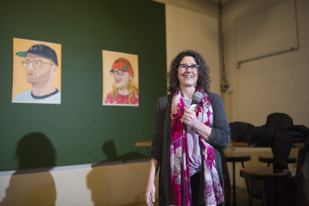 City Councilor Belinda Ray announces her candidacy to become Portland's next mayor at Oxbow Blending & Bottling in Portland on Thursday.